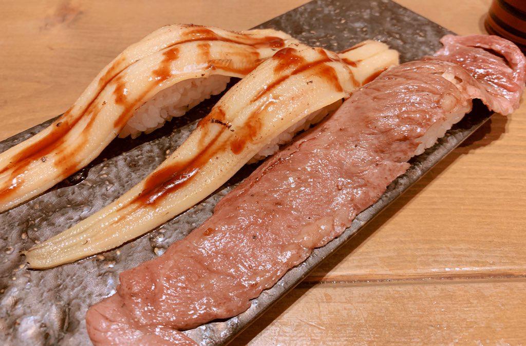 穴子と肉寿司